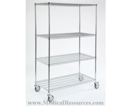"""lakeside_4-shelf_wire_carts_54""""_units_(60""""_w_casters)"""