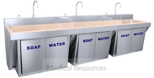 Just Manufacturing CuVerrou0026#0174 Copper Knee Operated Soap And Water Scrub  Sinks
